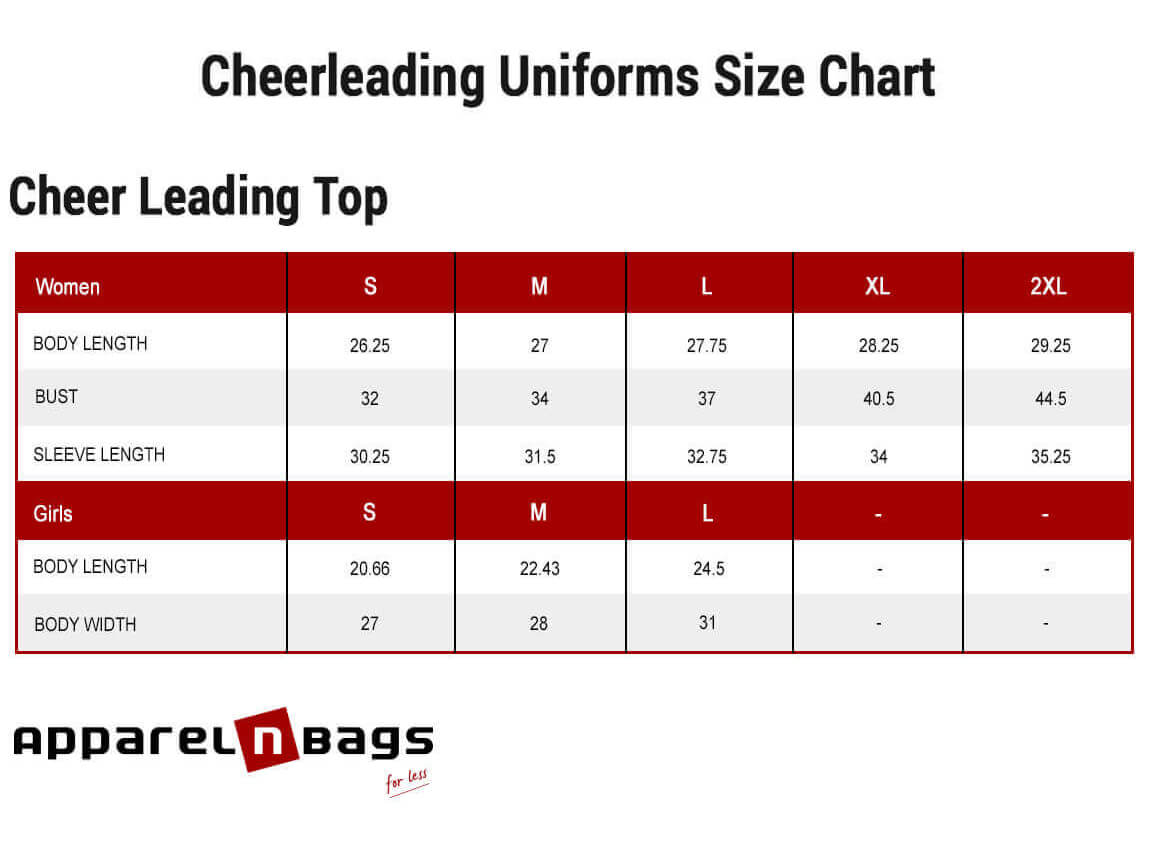 Cheerleading Top Size Chart