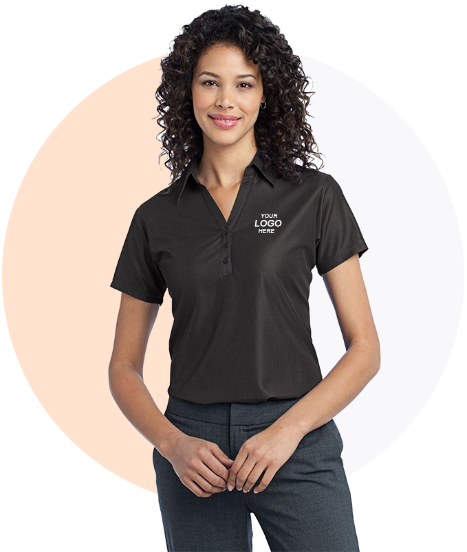 Port Authority L512 Logo Embroidered Vertical Pique Sport Shirt - For Ladies