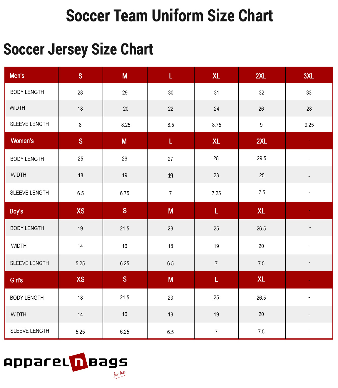 Soccer Jersey Size Chart