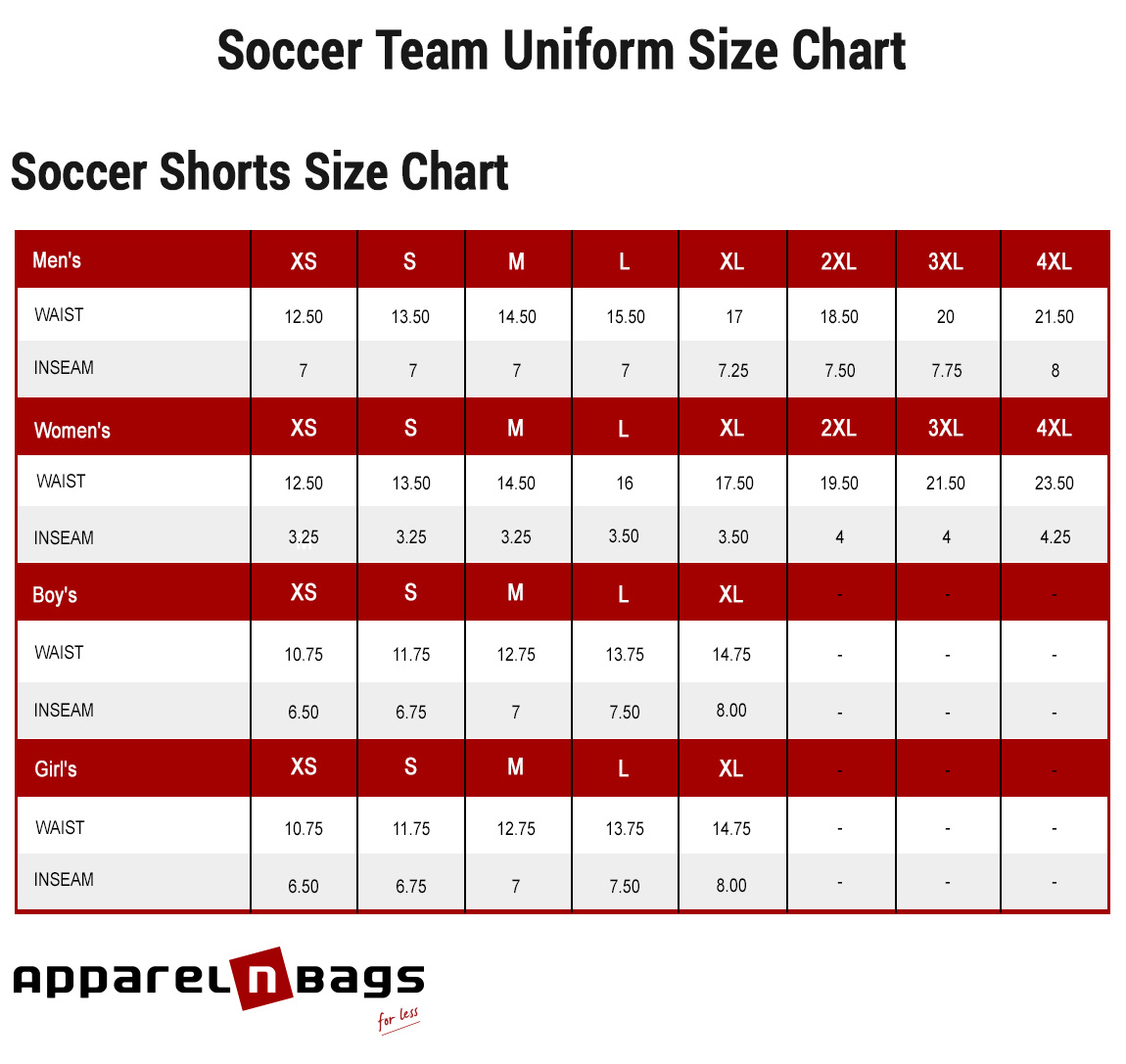 Soccer Shorts Size Chart