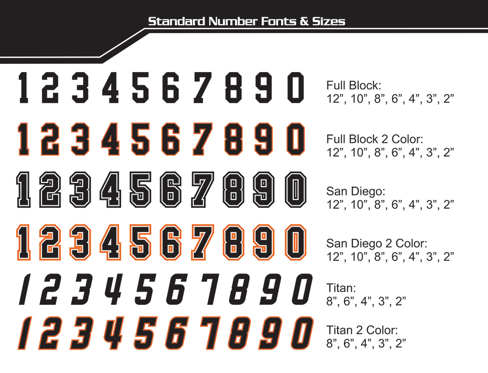 Screen Print Font and Numbers