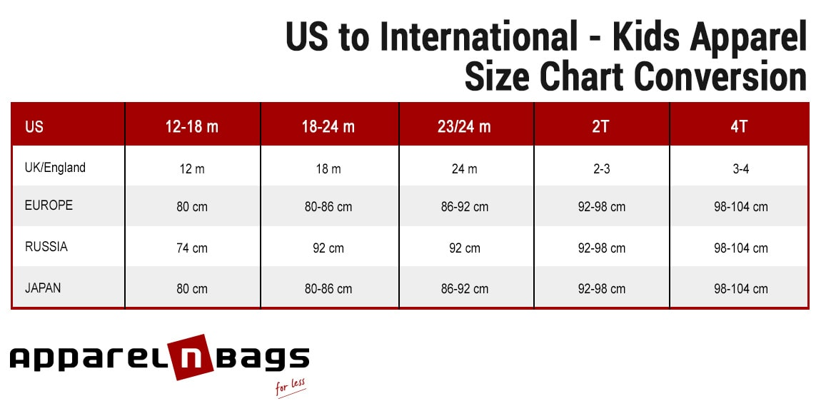 US to International - Kids Apparel Size Chart Conversion