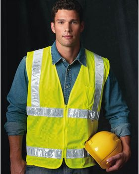 Bayside 3785 USA Made Mesh Safety Vest - Shop at ApparelnBags.com