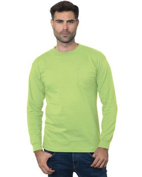 Bayside BA3055 Unisex Union-Made Long-Sleeve Pocket Crew T-Shirt