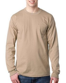 Bayside BA8100 Adult Long-Sleeve Tee with Pocket