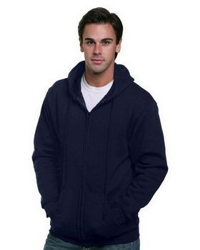Bayside BA900 Adult Full Zip Hooded Sweatshirt