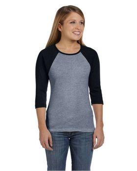 Bella + Canvas B2000 Ladies Baby Rib Contrast Raglan T-Shirt