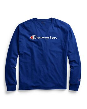 Champion GT78H Y07718 Mens Classic Jersey Long-Sleeve Tee; Script Logo