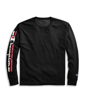 Champion GT78H Y07980 Mens Classic Jersey Long-Sleeve Tee; Vertical Logo
