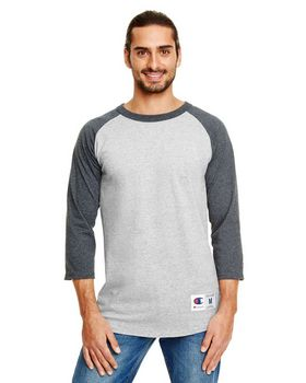 Champion T1397 Men's 100% Cotton Tagless Raglan Baseball T Shirt