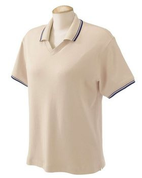 Devon & Jones D140W Ladies Tipped Perfect Pima Interlock Polo