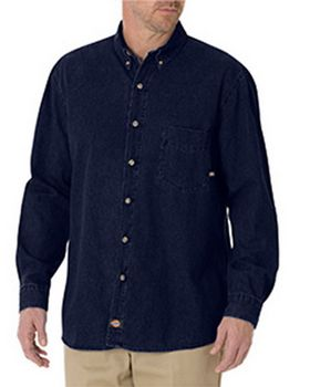 Dickies WL300T Tall Long-Sleeve Button-Down Denim Shirt