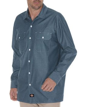 Dickies WL509 Mens Relaxed Fit Long-Sleeve Chambray Shirt