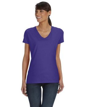 Fruit of the Loom L39VR Ladies 100% Heavy Cotton HD V-Neck T-Shirt