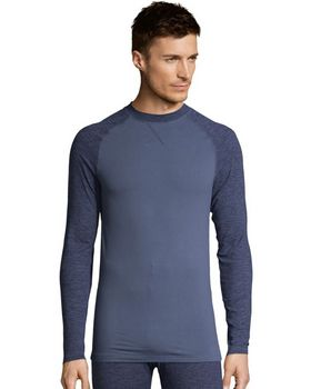 Hanes 125462 Mens Space Dye 4-Way Stretch Thermal Crewneck