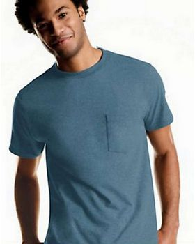 Hanes 2176A4 Mens TAGLESS Crewneck Pocket T-Shirt 4-Pack