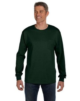 Hanes 5596 Tagless Long Sleeve Pocket T Shirt