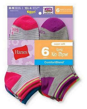 Hanes 745 Girls Fashion Comfort Blend Socks 6 Pack