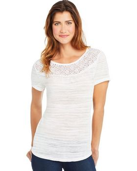 Hanes O9350 Womens Peasant Lace Trim Top - Shop at ApparelnBags.com