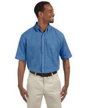 Harriton M550S Short-Sleeve Denim Shirt - Shop at ApparelnBags.com
