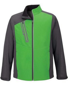 North End 88176 Terrain Mens Color-Block Soft Shell With Embossed Print Jacket