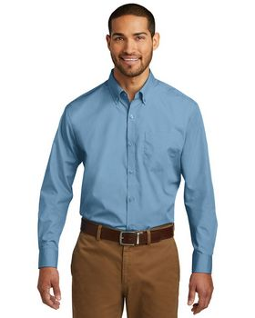 Port Authority W100 Mens Long Sleeve Carefree Poplin Shirt