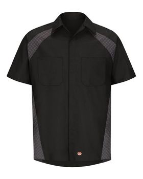 Red Kap SY26L Short Sleeve Diamond Plate Shop Shirt - Long Sizes