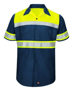 Red Kap SY80 Hi-Visibility Colorblock Ripstop Short Sleeve Work Shirt