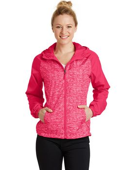 Sport-Tek LST40 Ladies Heather Colorblock Raglan Hooded Wind Jacket