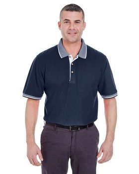 Ultraclub 8537 Color-Body Classic Pique with Striped Collar Polo