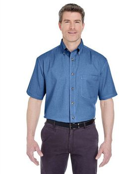 Ultraclub 8965 Men's Short-Sleeve Denim Shirt