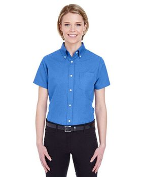 Ultraclub 8973 Short-Sleeve Ladies Oxford Shirt