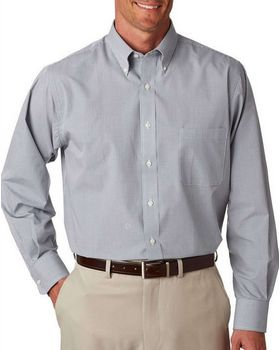 Van Heusen V0225 Men's Long Sleeve Yard Dyed Gingham Check