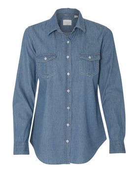 Weatherproof W154695 Vintage Womens Denim Long Sleeve Shirt