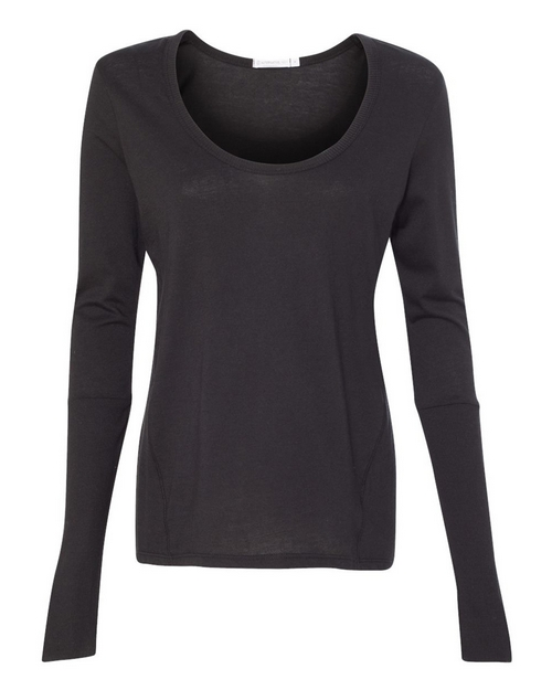 Alternative 12528 Womens Satin Jersey Scoop neck Long Sleeve T-Shirt
