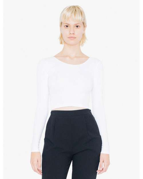 American Apparel 8379W Ladies Cotton Spandex Long Sleeve Crop Top