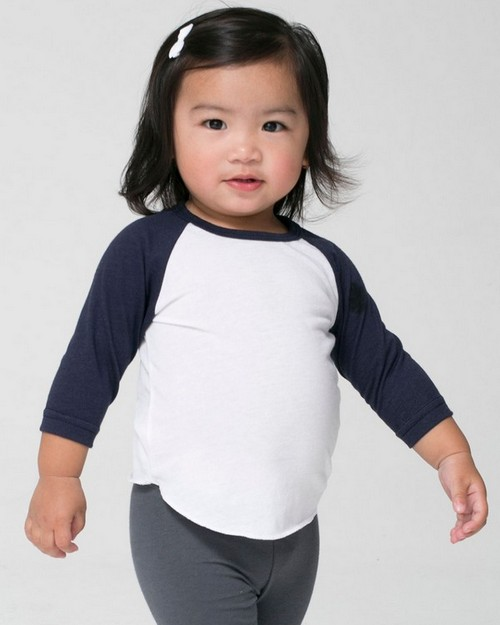 American Apparel BB053 Drop Ship Infant Poly-Cotton 3/4 Sleeve Raglan