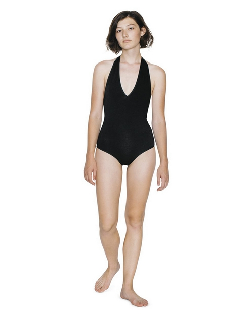 American Apparel RSA8312W Womens Cotton Spandex Halter Bodysuit
