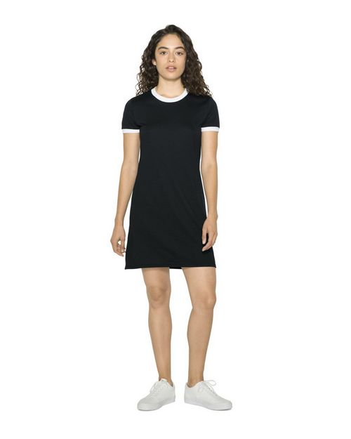 American Apparel RSABB3274W Women's Poly/Cotton Ringer T-Shirt Dress
