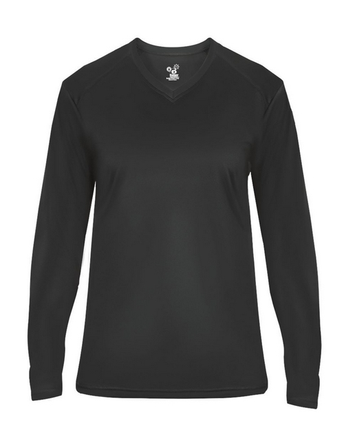 Badger 4064 Womens Ultimate SoftLock V-Neck Long Sleeve Tee