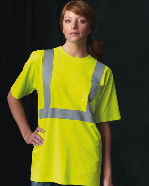 Bayside 3772 50/50 Womens USA Made High Visibility T-Shirt with Pocket