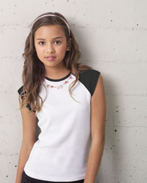 Bella + Canvas 9020 Youth Cap Sleeve Raglan Tee