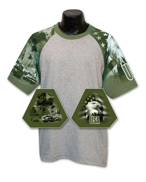 Everyday Life 10024 Mens Army Theme Print Tee
