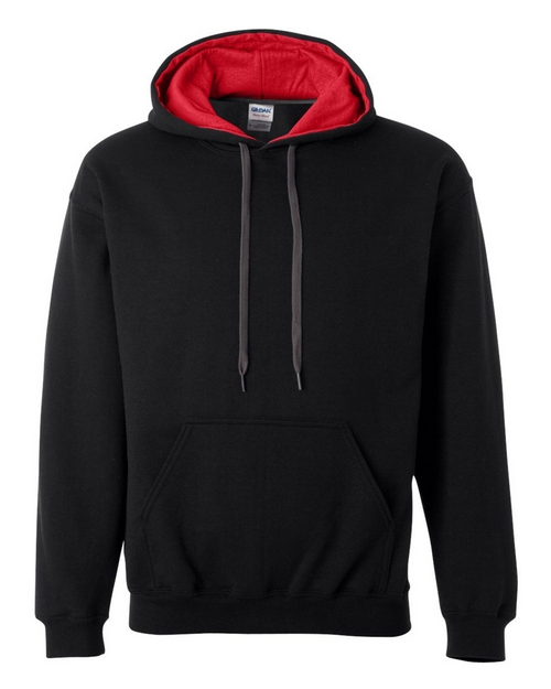 Gildan 185C00 Mens Heavy Blend Hooded Sweatshirt with Contrast Color Lining