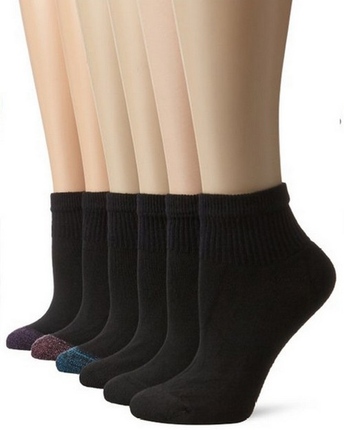 Hanes 6816 Womens Cushion Ankle Sock (Pack of 6)
