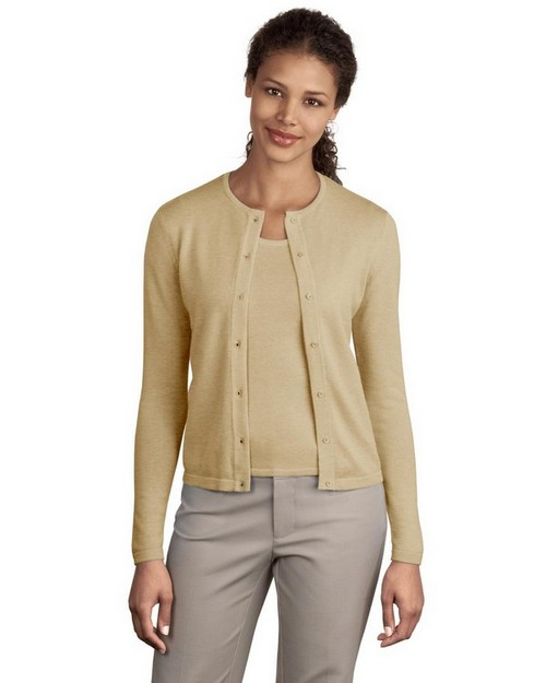 Port Authority LSW280 Signature Ladies Fine Gauge Crewneck Cardigan Sweater