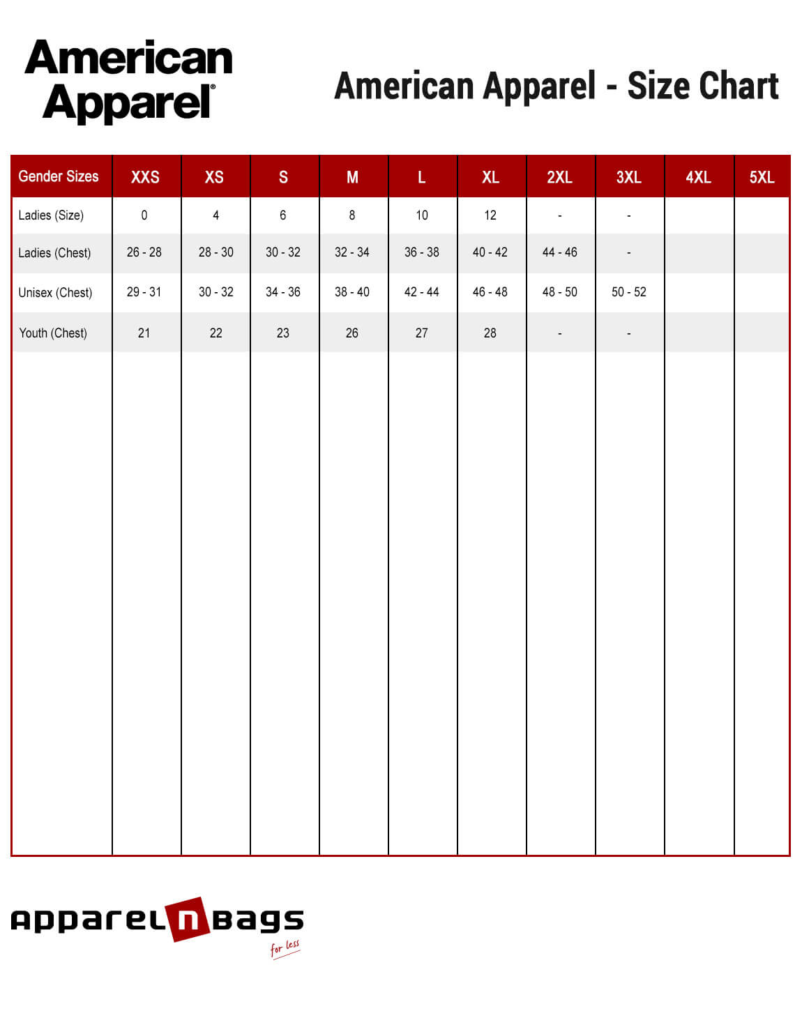 American apparel size chart fit guide and size chart