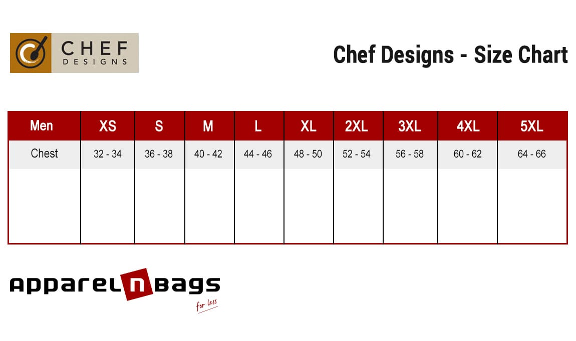 Chef Designs - Size Chart