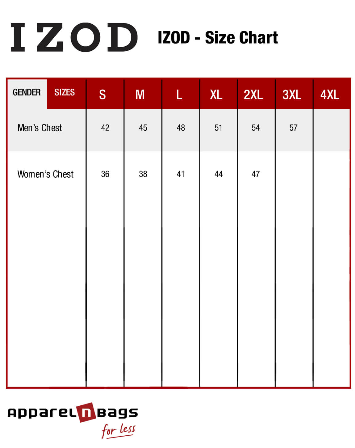 Izod fit guide and clothing size chart at apparelnbags com