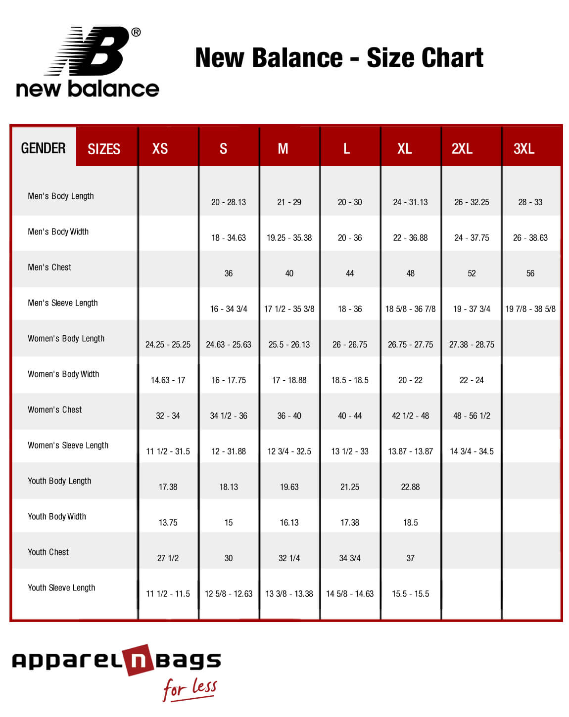 New balance clothing size chart and online fit guide new balance size chart nvjuhfo Choice Image
